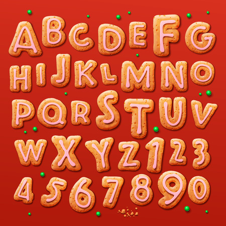 Christmas gingerbread cookies alphabet and numbers, vector illustration. Vector