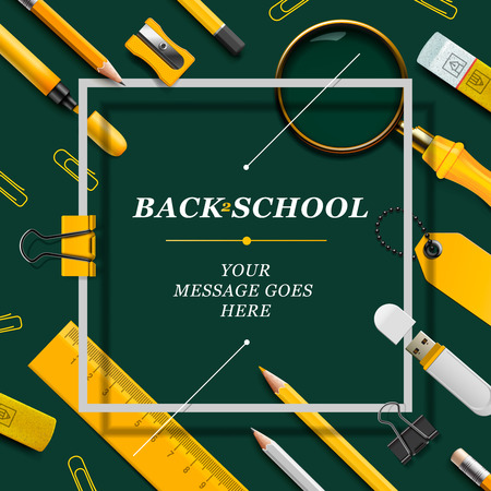 Welcome Back to school template with schools supplies, green and yellow colors, vector illustration.