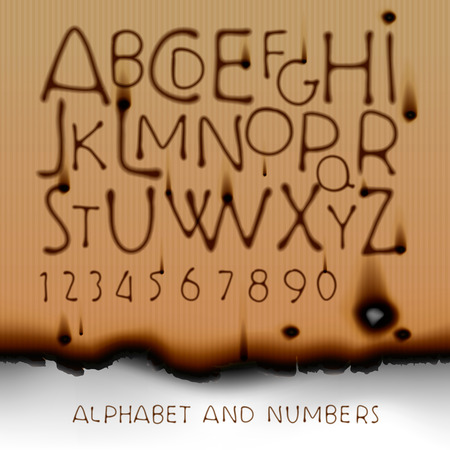 burned out: Vintage alphabet and numbers on burned out paper background, vector illustration.