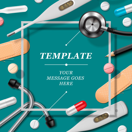 clinical research: Medical template with medicine equipment, vector eps10 illustration.