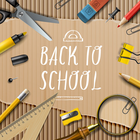 Welcome Back to school template with schools supplies on cardboard texture background, vector Eps10 illustration.