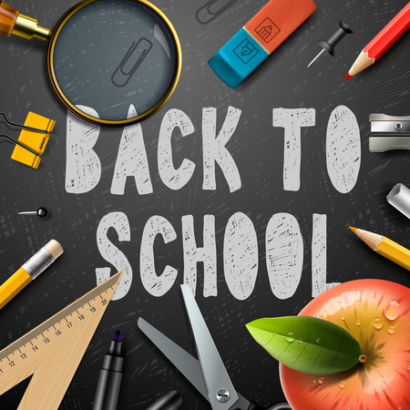 semester: Back to school chalk drawing template with school supplies, vector eps10 illustration.