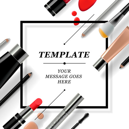 lapiz labial: Plantilla de maquillaje con la colecci�n de compone los cosm�ticos y accesorios, ilustraci�n vectorial.