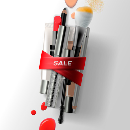 Various makeup brushes and cosmetics with red ribbon. Sale poster, vector illustration. Illustration