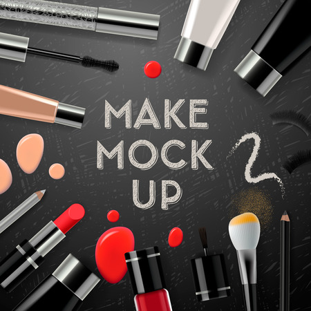Makeup mockup with collection cosmetics and accessories, vector illustration.