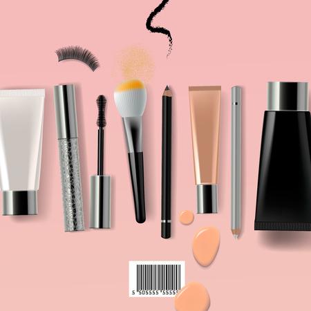 ojos marrones: Cepillo del maquillaje y cosméticos, ilustración vectorial.