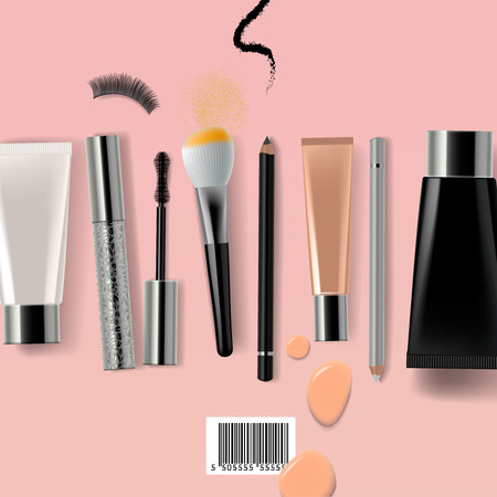 Makeup brush and cosmetics, vector illustration. Illustration