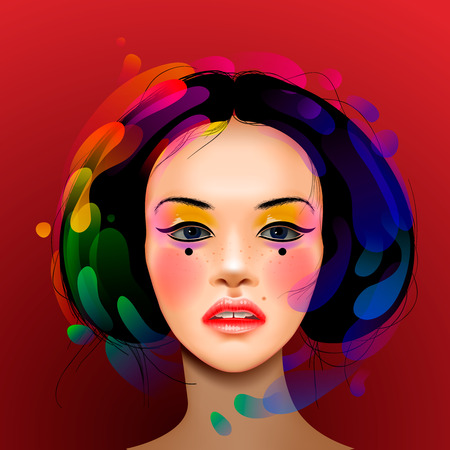 japanese style: Asian woman beauty face portrait, vector eps10 illustration.