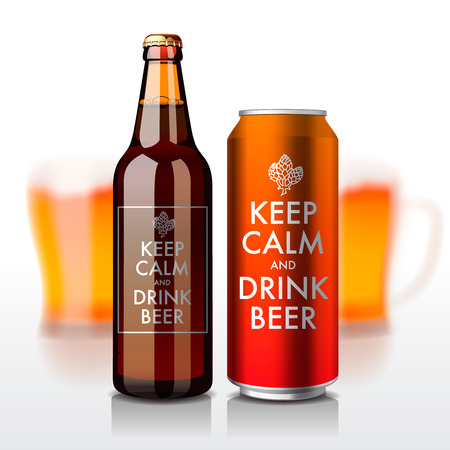 A garrafa de cerveja e pode com etiqueta - mantenha a calma e beba a cerveja, vector a ilustração eps10. Ilustración de vector