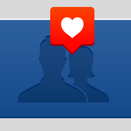 social gathering: Valentines Day concept, with user avatar icon and bubble with heart, vector illustration.