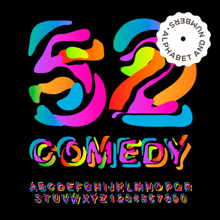 comedy show: Creative colorful alphabet and numbers, vector eps10 illustration.