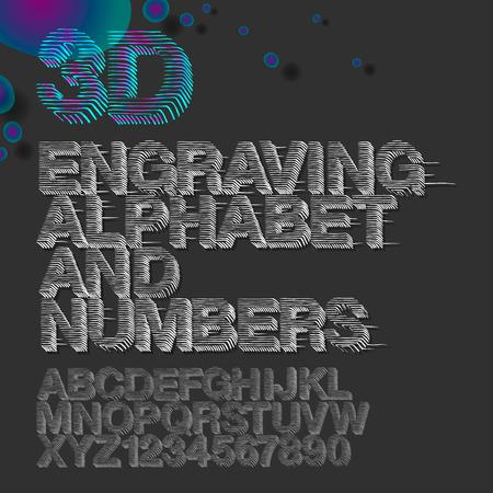 gravure: Incisione alfabeto e numeri, stile rotocalco vintage, illustrazione vettoriale.
