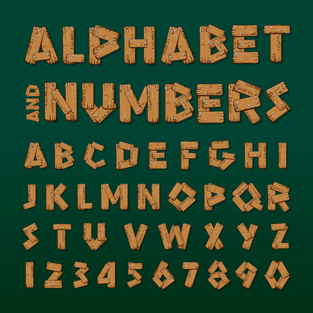 prinitng block: Wooden alphabet and numbers, vector illustration. Illustration