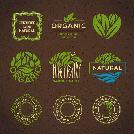 Organic food labels and elements, set for food and drink, restaurants and organic products vector illustration.