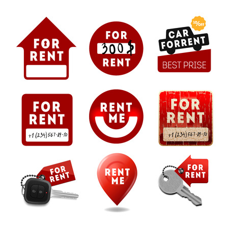 letting: Signs with the inscription For Rent, vector illustration. Illustration