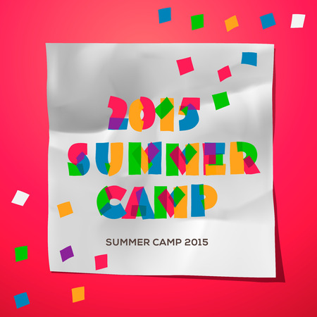 Summer Holiday and Travel themed Summer Camp poster, vector illustration. Vector