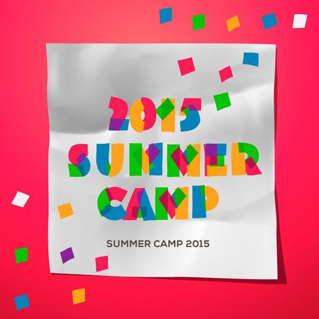 summer school: Summer Holiday and Travel themed Summer Camp poster, vector illustration.