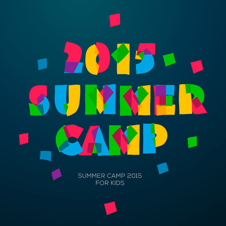 summer nature: Summer Holiday and Travel themed Summer Camp poster, vector illustration.
