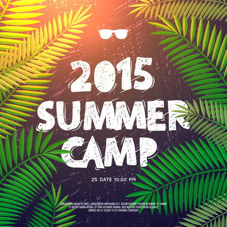 writing equipment: Summer Holiday and Travel themed Summer Camp poster, vector illustration.