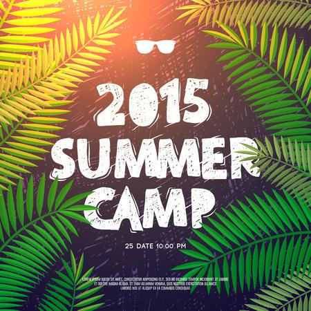 trees  summer: Vacaciones de verano y viajes tem�ticos cartel campamento de verano, ilustraci�n vectorial. Vectores