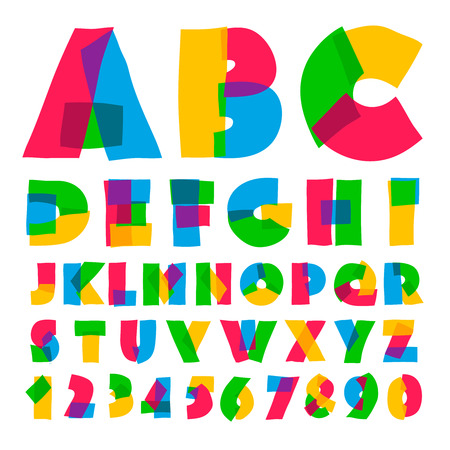 Colorful kids alphabet and numbers, vector illustration. Vectores
