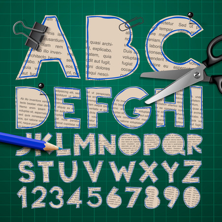 paper cut out: Alphabet and numbers, paper craft design, cut out by scissors from newspaper. Vector illustration.