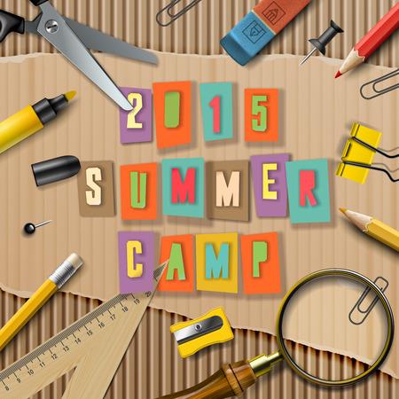 Summer Camp themed  poster Çizim