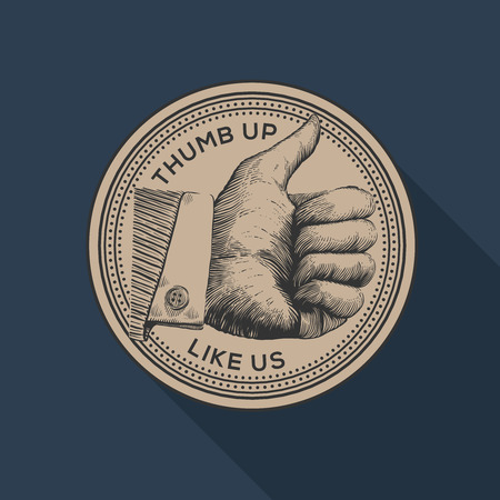 follow us: Thumb up label, social networks