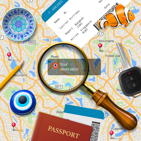 cartographer: Travel concept. Navigation - You are here. International passport, boarding pass, tickets, magnets and key on the map background, vector illustration.