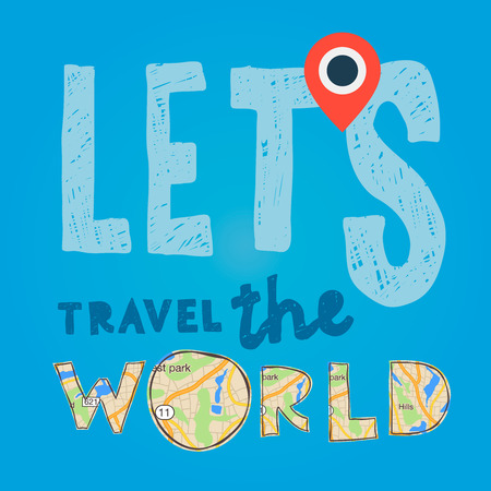 Lets go travel the world. Vacations and tourism concept, vector illustration. illustration