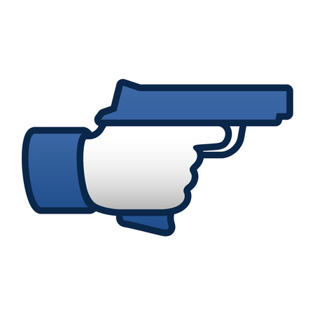 Like thumbs up symbol icon with gun, vector illustration.