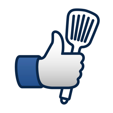 spatula: Like cooking, thumbs up symbol icon with spatula, vector illustration.
