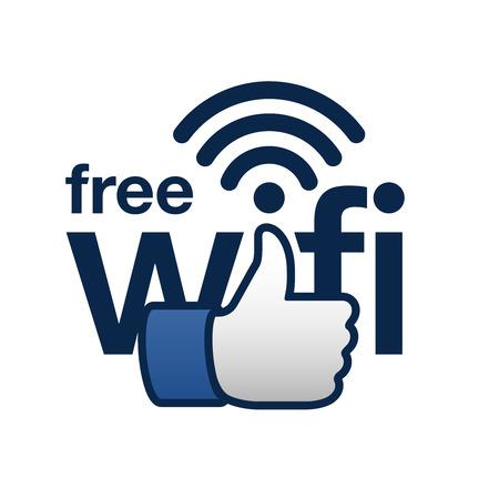 여기에 무료 와이파이 기호 개념 일러스트