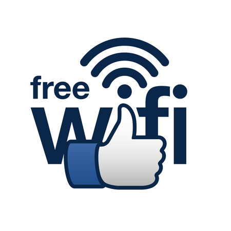 wi fi icon: Free wifi here sign concept