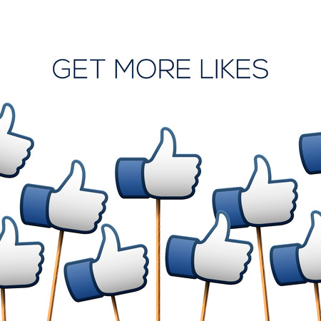 likes: Like thumbs up symbols. Get more likes, vector illustration.