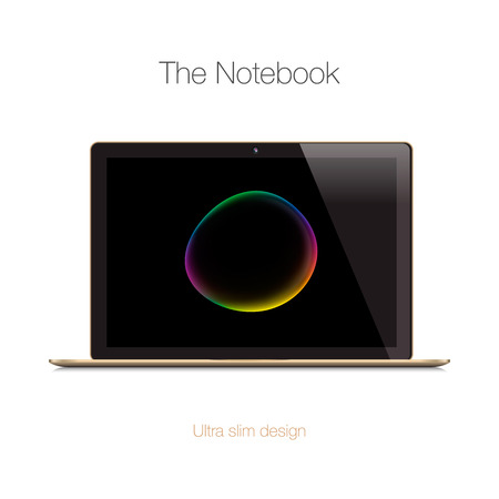 laptop isolated: Modern gold glossy laptop isolated on white, vector illustration.