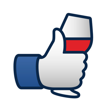 Net als thumbs up symbool pictogram met een glas rode wijn, vector illustratie. Stock Illustratie