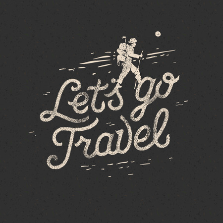 Lets go travel, hiker with backpack crossing rocky terrain. Adventure motivation concept, vector illustration. Ilustração