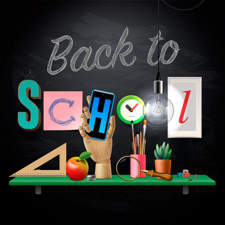 utiles escolares: Volver a la plantilla de la escuela con los suministros de las escuelas del �rea de trabajo, ilustraci�n vectorial. Vectores