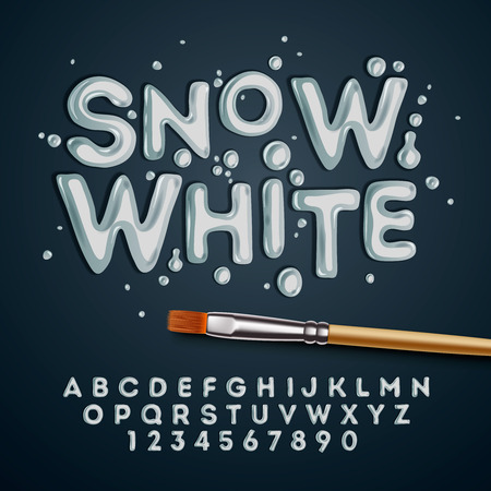 fonts year: Snow white alphabet and numbers,  Illustration