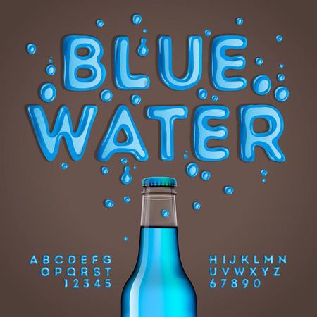carta de agua liquida: Alfabeto azul agua y números, ilustración vectorial eps10.
