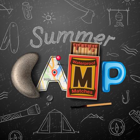 여름 캠프 테마 포스터 일러스트