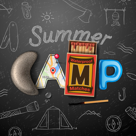 Summer Camp themed poster Vettoriali
