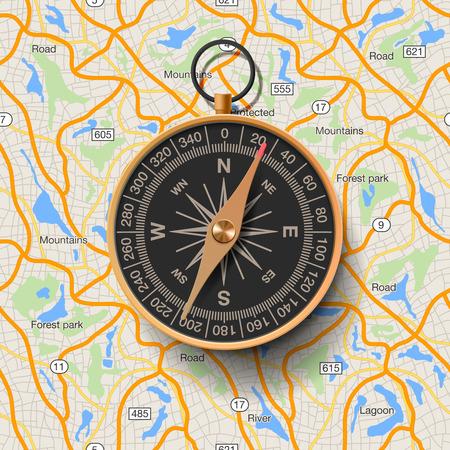 Oude kompas op de kaart achtergrond, vector illustratie. Stock Illustratie