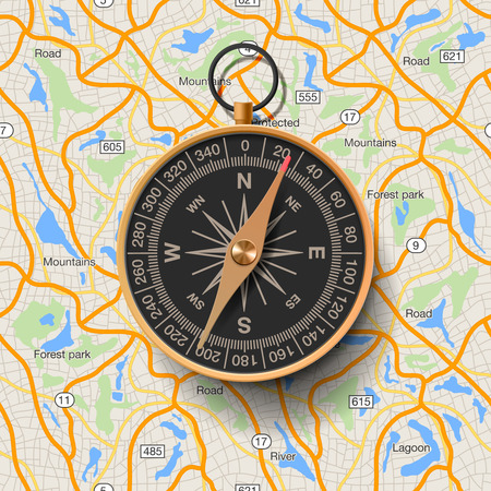 Old compass on map background, vector illustration.