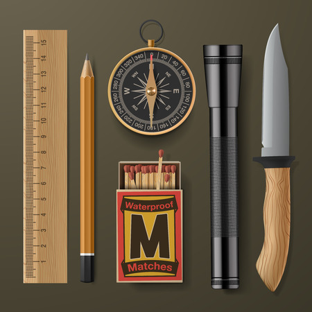 boy scouts tent: Set of camping hiking equipment, vector illustration.