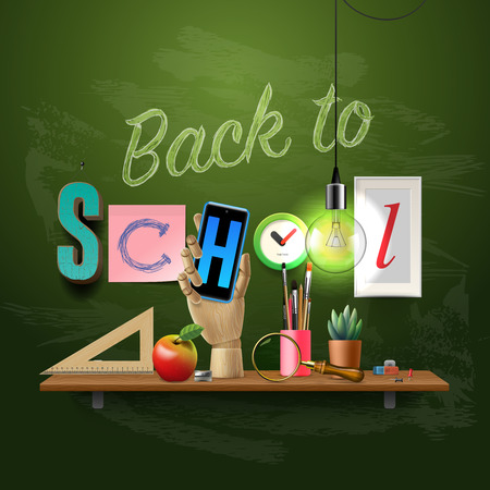 e new: Back to school template with schools workspace supplies, vector illustration.