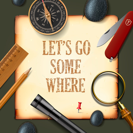 pocket knife: Lets some where, adventure motivation concept, vector illustration.