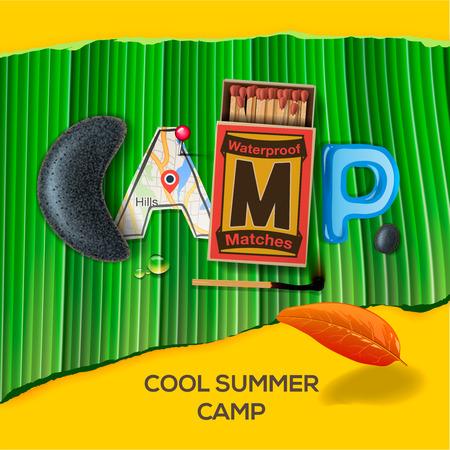 caja de cerillas: Campamento de Verano cartel tem�tico,