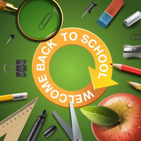 vector school: Back to school template with schools workspace supplies, vector illustration.